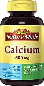 Nature Made Calcium 600 mg/400 IU, Vitamin D3, 100 Softgels