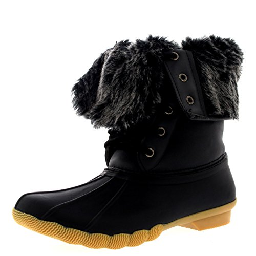 Womens Rubber Sole Deep Tread Winter Fold Down Fur Cuff Snow Rain Boots - 9 - BLK40 - Snow Cuff