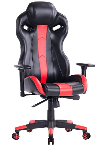 KILLABEE Racing Style Gaming Chair - Ergonomic E-Sports Chair High Back Executive Computer Desk Chair Leather Office Chair with Adjustable 3-D Arms (Red&Black) KILLABEE