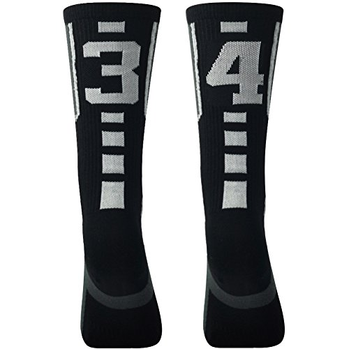 Over Calf Compression Sport Socks for Men and Women, Comifun Id Player Custom Team Number Mid Calf Crew Long Stock Baseball Socks,Black/White,1 Pair,over 18 Ages,