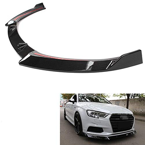 GZYF Front Bumper Lip Spoiler Splitter Body Kit Compatible with Audi A3 2017-2019(General Model), Stylish Carbon Fiber Look
