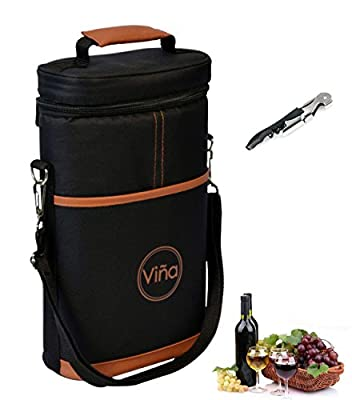 Wine Travel Carrier & Cooler Bag 2-bottle Wine Champagne Carrying Tote Picnic Cooler Insulated Travel Brown Case +Free Corkscrew Vina