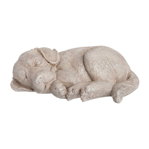 PINE AND PAINT LLC Dog Statue Sleeping Puppy Indoor Outdoor Natural Rock Finish
