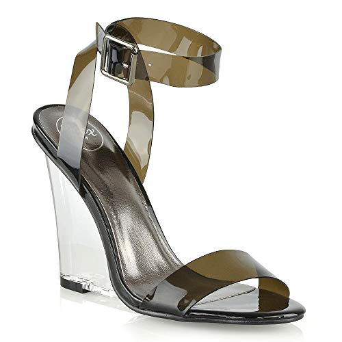 ESSEX GLAM Womens Perspex Heel Sandals Ladies Black Wedge High Heel Clear Ankle Strap Strappy Dressy Party Shoes 9 B(M) - Clear Black Wedge