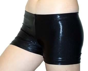 "GemGear Metallic 6"" Inseam Compression Shorts, MT1 (Black) Extra Small"