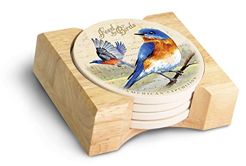 (5 Piece Bluebird Postcard Stone Coaster Set)