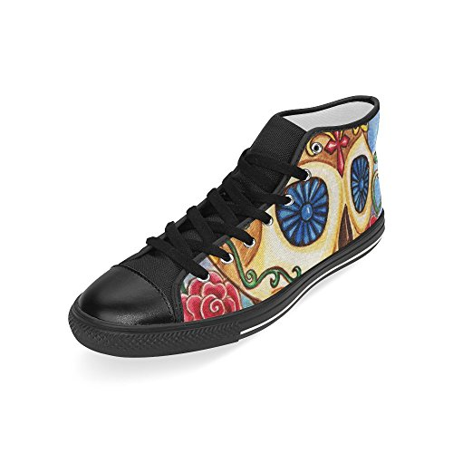 D-story Custom Art Skull Day Of The Dead Mens Classic High Top Scarpe Di Tela Sneaker Di Moda