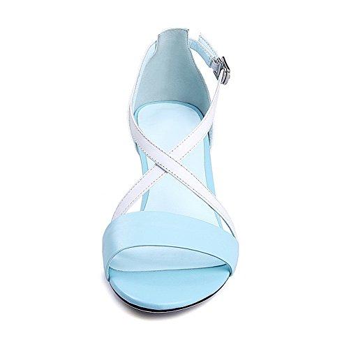 Amoonyfashion Kvinna Öppen Tå Höga Klackar Mjukt Läder Diverse Färg Spänne Sandals Blue