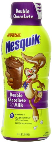 (Nestle Nesquik Low Fat 1% Milk, Double Chocolate, 14 Ounce (Pack of 12) )