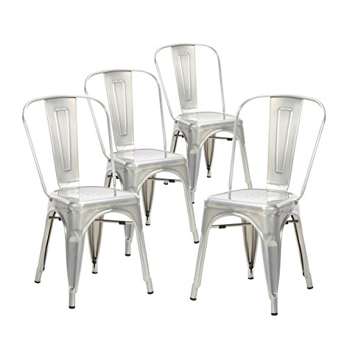 Buschman Set of Four Galvanized Tolix-Style Metal Indoor/Outdoor Stackable Chairs with Back