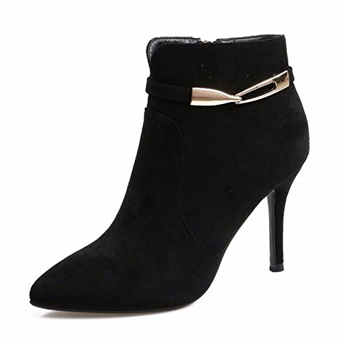 KHSKX-Winter New Metal Clasp Satin Shoes High-Heeled Boots Fine With Martin Short Boots Side Zip Cotton Shoes 9Cm Black 38 bq1vWoLE