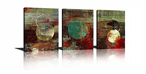 Brown Canvas Painting Vintage Wall Decoration Green Circle Abstract Picture Ready to hang for Living Room Bedroom 3 Panels - Personality Quiz Style