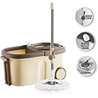 Spin Mop for 360 Degree Cleaning with Stainless Steel Wringer, Bigger Wheels, Auto Fold Handle, 2 Refills and 1 Liquid Dispenser (Brown & Cream)