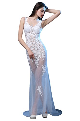 Ausschnitt Tailing Spitze Weiß Ohne Arm Abendkleider V Through See Emily Beauty qt6PRUfn