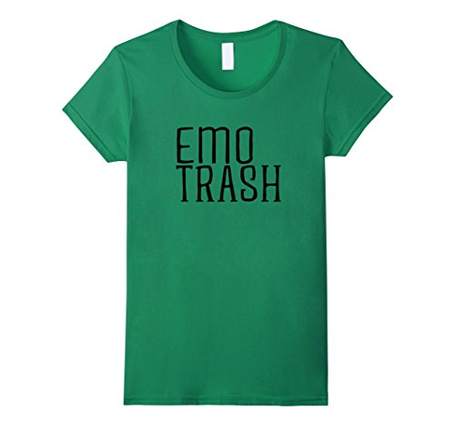 Womens Emo Trash, cool halloween t-shirt, simple but awesome shirts Small Kelly Green (Simple Cool Costumes)