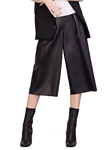 Lingswallow Women's Casual Faux Leather High Waist Wide Leg Palazzo Pants Black