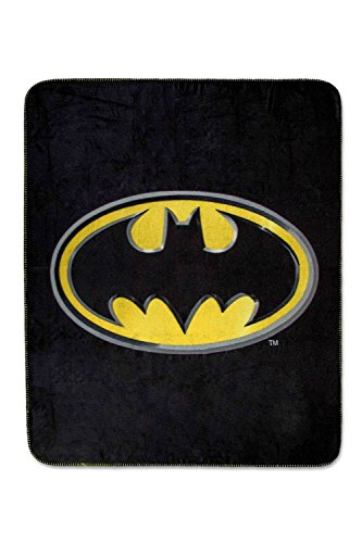 Batman Emblem Luxury Fleece Throw Blanket With Sewn Edge Super Soft 50  X 60  100  Polyester Fiber