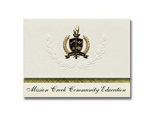 Cream Mission Mount - Signature Announcements Mission Creek Community Education (Mount Pleasant, MI) Graduation Announcements, Pack of 25 with Gold & Black, 6.25
