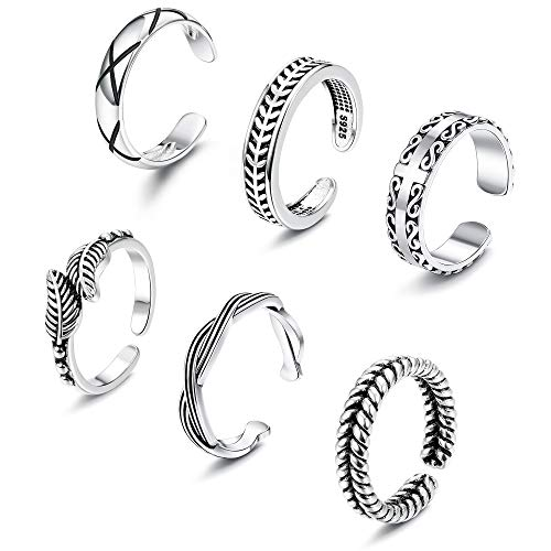 Crystal Toe Ring Rings - Besteel 6Pcs Toe Rings for Women Girls Adjustable Open Toe Ring Gifts Jewelry Set (D:6 Pcs A Set)