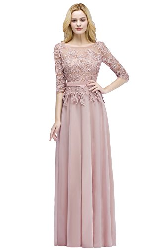 Rose Dusty Pearl (Babyonlinedress 3/4 Sleeve Floral Applique Dress for Main of Honor,NudePink,16)