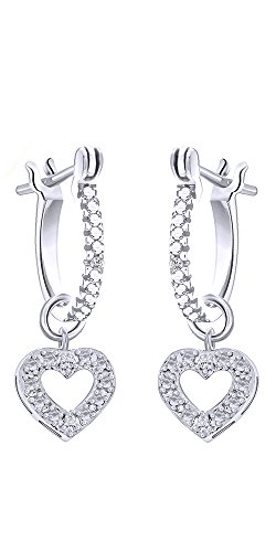 Cyber Monday Deals White Natural Diamond Heart Shape Dangle Earrings in 14k White Gold Over Sterling Silver (0.02 Ct)