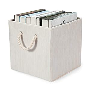 Hadioo 3 Pack Foldable Bamboo Fabric Storage Bins for Cube Organizer with Cotton Rope Handles, Collapsible Basket Box Organizer for Shelves and Closet– Beige 13x13x13 inch