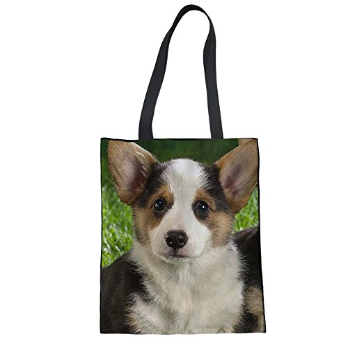 Canvas Baguette Handbag (Doginthehole Puppy Dog Print Shopper Women Canvas Tote Bag Shoulder Handbags)