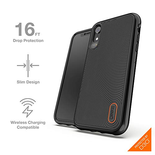 Gear4 Battersea Hardback Case with Advanced Impact Protection [ Protected by D3O ], Glass Back Protection, Slim, Tough Design Compatible with iPhone XR - Black