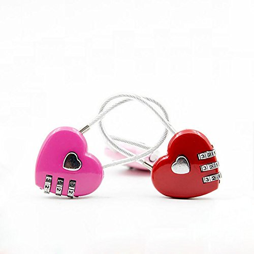 Autohome 2 Pack Padlock For Luggage School Filing Cabinets Toolbox 3 Digit Combination Color May Vary Love Heart