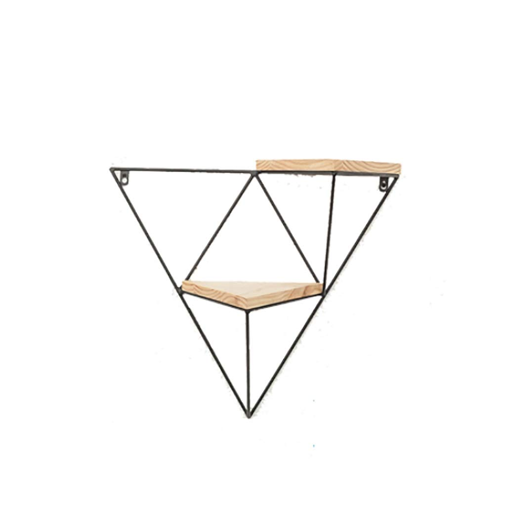 Shelf Black Iron Art Tripod Wall Decor with Wooden, Wall Mounted Triangle, Flower Stand, for Living Room Bedroom Background Wall, Creative Nordic Industrial (Size : One Pack)