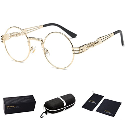 Dollger Round Clear Sunglasses Gold Metal Frame John Lennon Glasses ()