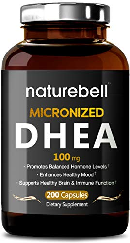 NatureBell DHEA, 100mg Extra Strength, 200 Capsules, Supports Balanced Hormonal Levels and Libido Health for Men and Women, No GMOs, Made in USA (Best Glutathione Pills In India)