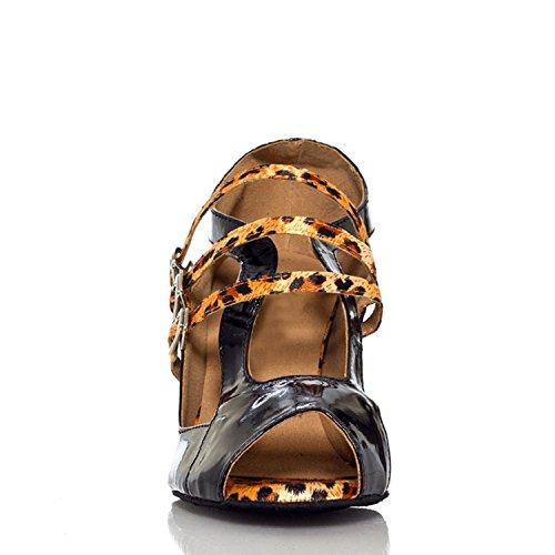Miyoopark ,  Damen Tanzschuhe , schwarz - Black/Leopard-7.5cm heel - Größe: 35