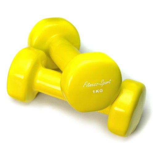 Vinylhanteln für Fitness, Aerobic, Gymnastik und Sport, Kurz- Hanteln gelb 1 kg, 1 Paar