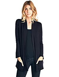 Basic Long Sleeve Open Front Pocket Cardigan (S-2X) - Made In USA