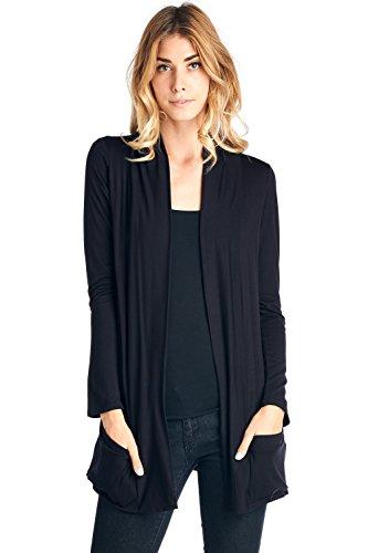 - 12 Ami Basic Long Sleeve Open Front Pocket Cardigan Black M
