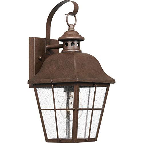 - Quoizel MHE8406CU Millhouse Seedy Glass Outdoor Wall Sconce Lighting, 1-Light, 100 Watt, Copper Bronze (16