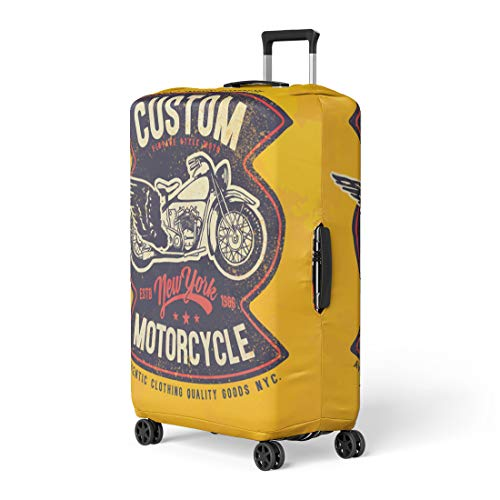 (Semtomn Luggage Cover Tee Motorcycle Vintage Graphic Badge Biker Motor Racing Custom Travel Suitcase Cover Protector Baggage Case Fits 22-24)