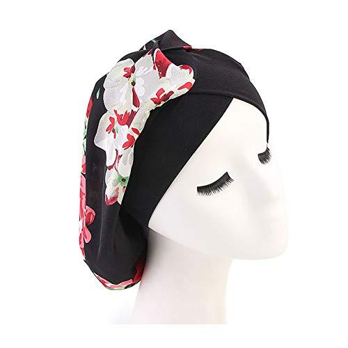 DuoZan Women's Soft Silky Satin Turban Elastic Wide Band Satin Bonnet Night Sleep Hat Hair Loss Cap (Black Flower)
