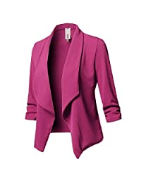 HEFASDM Women's Pure Color Long Sleeve Lapel Pleated Slim Casual Blazer