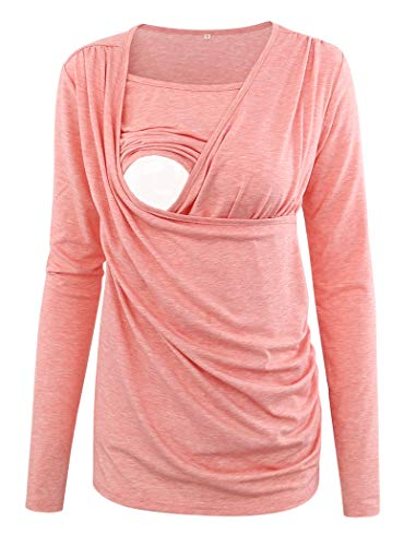 Ecavus Women's Ruched Side-Shirred Nursing Top Short Long Sleeve Breastfeeding Tee Shirt -