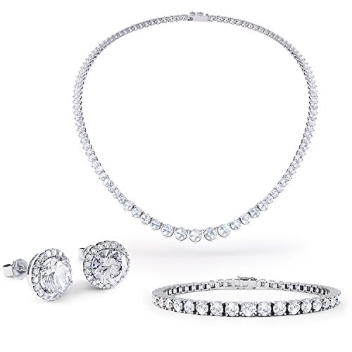 Eternity Saphir Blanc Or Argent Bijoux Set (Blanc)