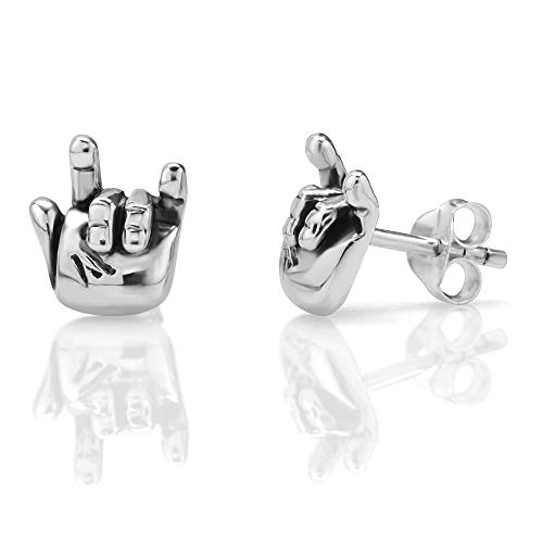 925 Oxidized Sterling Silver Tiny I Love You Hand Sign 10 mm Post Stud Earrings -