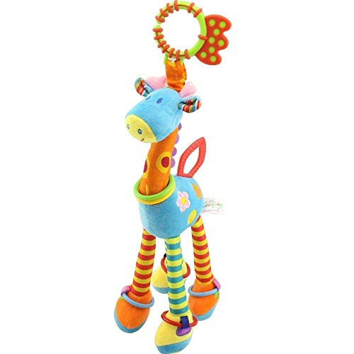 Etpark Giraffe Baby Plush Toy, Animal Infant Developmental Interactive Toy, Soft Development Handbells Rattles Handle Toys, Colorful Kids Crib Hanging Toy with Teethers, for Crib High Chair