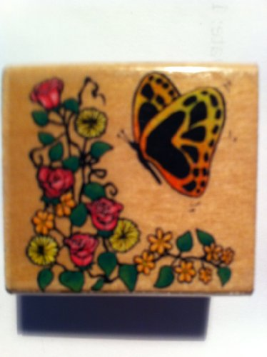 Butterfly with Flowers Rubber Stamp