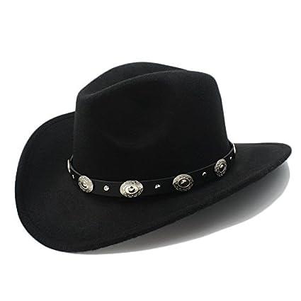 Sunhat-TX Cappello - Cappello da Cowboy Western da Uomo Womem Vintage con Cappuccio da Cowgirl Jazz con Cappelli in Pelle Toca Sombrero (Colore : 2, Dimensione : 57-58cm)