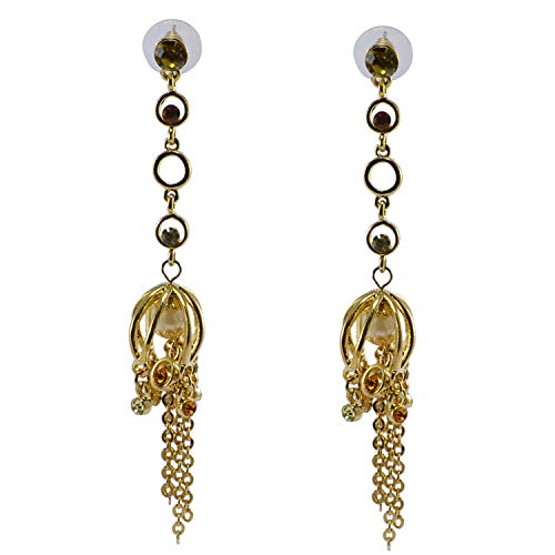 Silvestoo Jaipur Yellow Champange, Apple Green CZ & Pearl Gold Plated Earring For Women & Girls PG-126524 ()