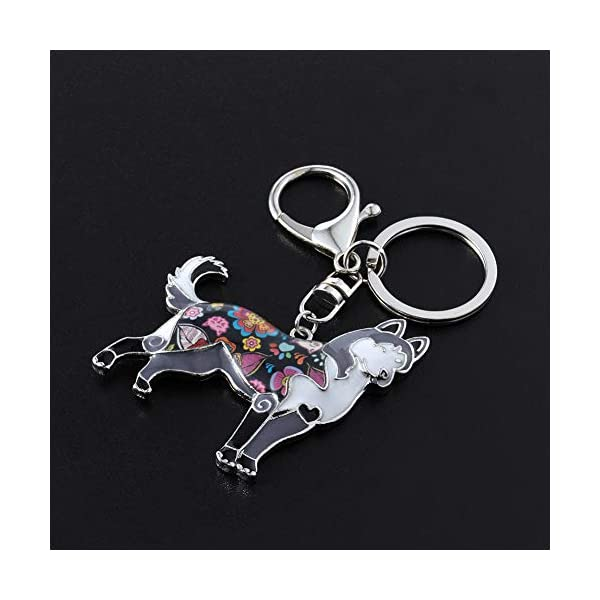 Marte&Joven Siberian Husky Keychain for Women Dog Lover Unique Enamel Dog Jewelry Gift 2