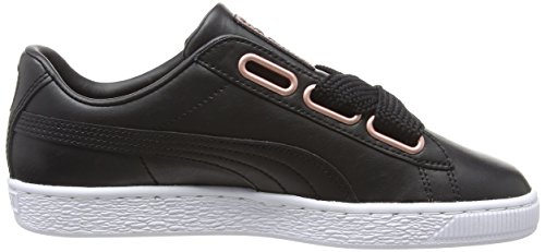 Wn's Black puma Heart Gold Basket Leather 02 Basses Femme Noir Puma rose Sneakers A8tTqzqn