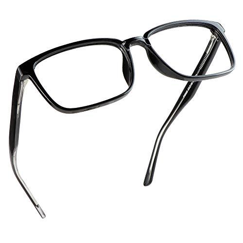 LifeArt Blue Light Blocking Glasses, Anti Eyestrain, Computer Reading Glasses, Gaming Glasses, TV Glasses for Women Men, Anti Glare (Black, No Magnification)